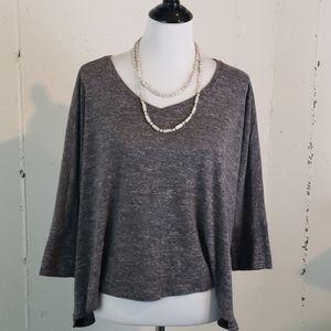 Loft XL  charcoal grey boxy 3/4 sleeve casual top